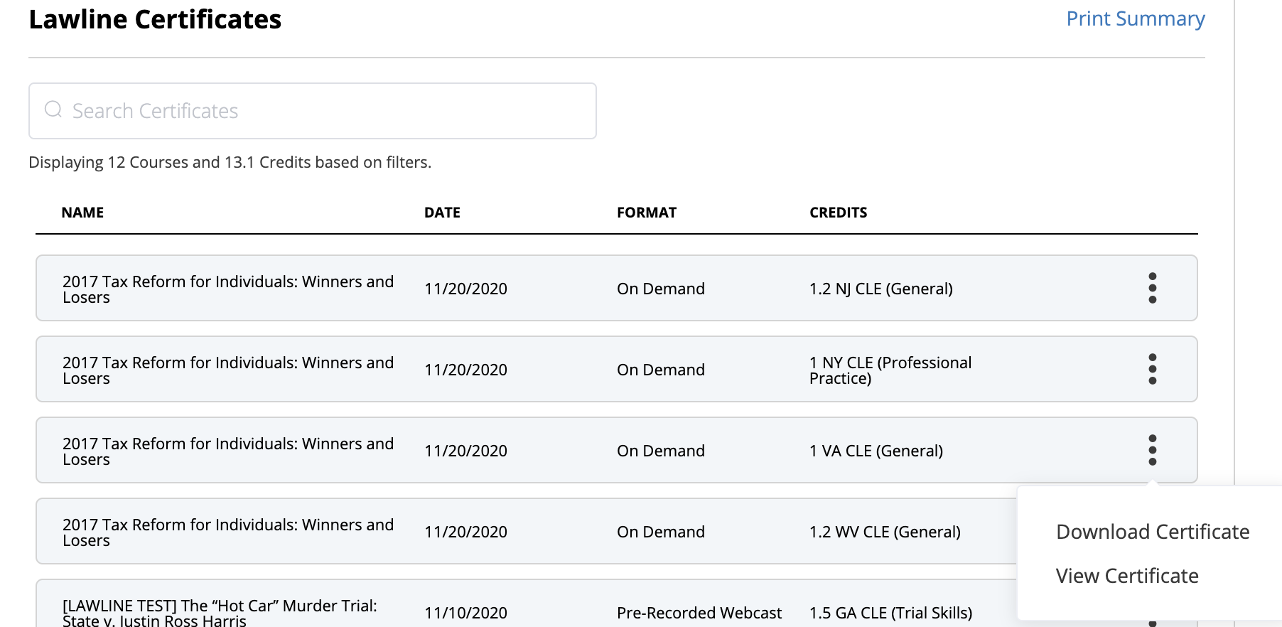 CLE_Certificates_list_displayed_with_the_download_or_view_certificate_options